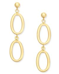 Macy's | Metallic Oval Ring Double Drop Earrings In 14k Gold | Lyst