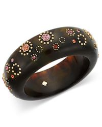 kate spade new york | Multicolor Out Of Her Shell Gold-tone Tortoiseshell-look Floral Bangle Bracelet | Lyst
