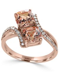 Effy Collection   Metallic Morganite (1-9/10 Ct. T.w.) And Diamond (1/6 Ct. T.w.) Ring In 14k Rose Gold   Lyst