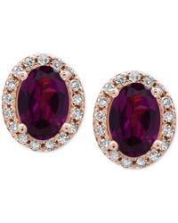 Effy Collection | Metallic Rhodolite Garnet (1-1/10 Ct. T.w.) And Diamond (1/8 Ct. T.w.) Stud Earrings In 14k Rose Gold | Lyst