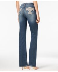 Earl Jean | Blue Embellished Medium Wash Bootcut Jeans | Lyst