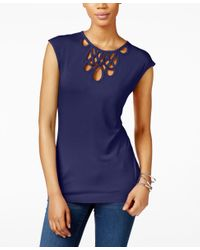 INC International Concepts - Blue Cutout Top, Only At Macy's - Lyst
