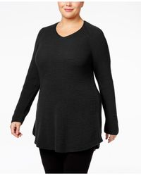 Style & Co. | Black Plus Size V-neck Waffle-knit Tunic, Only At Macy's | Lyst