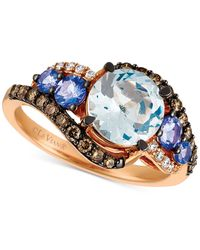 Le Vian | Blue Aquamarine (1-1/2 Ct. T.w.), Tanzanite (1/2 Ct. T.w.) And Diamond (3/8 Ct. T.w.) Ring In 14k Rose Gold | Lyst