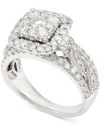 Macy's - Diamond Cluster Engagement Ring (1 Ct. T.w.) In 14k White Gold - Lyst