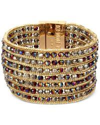 Kenneth Cole - Metallic Gold-tone Multi-row Beaded Bracelet - Lyst