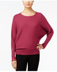Alfani | Red Petite Ribbed Dolman-sleeve Sweater, Only At Macy's | Lyst