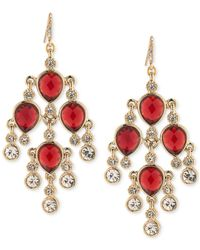 Carolee | Metallic Gold-tone Red Stone And Crystal Chandelier Earrings | Lyst