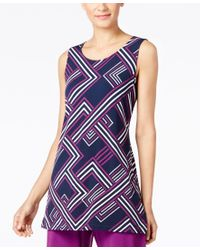 Alfani   Blue Printed Tunic, Only At Macy's   Lyst