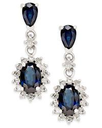 Macy's   Sapphire (2 Ct. T.w.) And Diamond (1/3 Ct. T.w.) Drop Earrings In 14k White Gold   Lyst