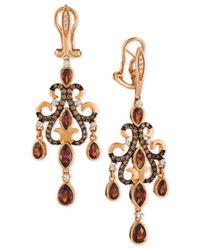 Le Vian   Metallic Garnet (3-5/8 Ct. T.w.), Chocolate Diamond (1/2 Ct. T.w.) And Diamond Accent Chandelier Earrings In 14k Rose Gold   Lyst
