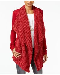 Lucky Brand | Red Draped Open-front Cardigan | Lyst