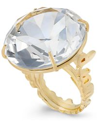 kate spade new york | Metallic Gold-tone Clear Crystal Cocktail Ring | Lyst