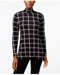Style & Co. | Black Petite Printed Mock-neck Top, Only At Macy's | Lyst