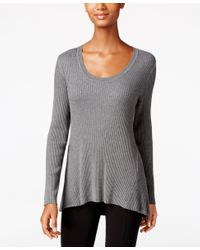 Style & Co. | Gray Petite Scoop-neck Sweater, Only At Macy's | Lyst