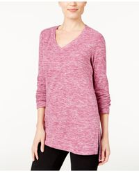 Style & Co. | Pink Petite Space-dyed Sweater, Only At Macy's | Lyst