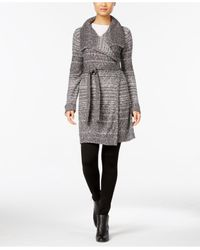 Style & Co. | Gray Petite Belted Space-dye Wrap Cardigan | Lyst