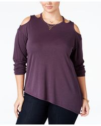 Love Scarlett | Purple Plus Size Cold-shoulder Asymmetrical Top | Lyst