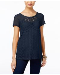 INC International Concepts | Blue Mixed-knit Illusion Top, Only At Macy's | Lyst