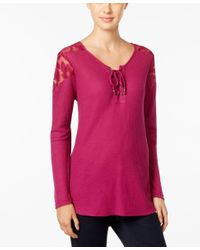 Style & Co.   Pink Lace-trim Lace-up Top, Only At Macy's   Lyst