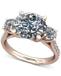 Macy's | Metallic Diamond Ring Mount (1/2 Ct. T.w.) With Claw-set Diamond Accents In 14k Rose Gold | Lyst