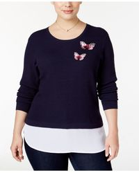 INC International Concepts | Blue Plus Size Waffle-knit Layered-look Sweater | Lyst