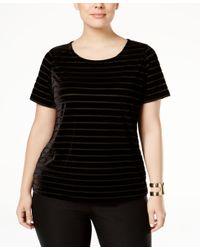 INC International Concepts | Black Plus Size Burnout-striped Velvet Top, Only At Macy's | Lyst
