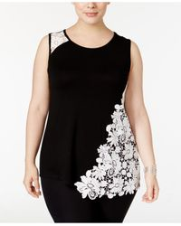 INC International Concepts | Black Plus Size Lace-embellished Tank Top | Lyst