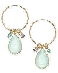 Macy's | Metallic Inspired Life Large Stone And Charm Hoop Earrings | Lyst