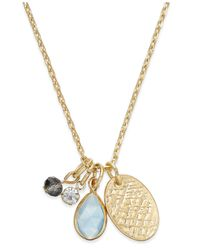 Macy's | Blue Gold-tone Multi-charm Stone Pendant Necklace | Lyst