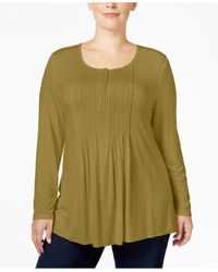 Style & Co. | Green Plus Size Pintucked Henley Top, Only At Macy's | Lyst