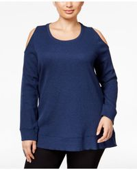 Style & Co. | Blue Plus Size Cold-shoulder Thermal Top, Only At Macy's | Lyst