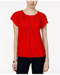 Style & Co. | Red . Pleated-neck Top, Only At Macy's | Lyst