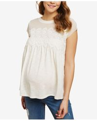 Jessica Simpson - White Maternity Lace-trim Linen Top - Lyst