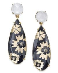 Kate Spade - Metallic Gold-tone Imitation Pearl & Flower Printed Stone Drop Earrings - Lyst