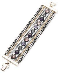 DKNY - Purple Tri-tone & Black Rubber Multi-stone Multi-row Bracelet - Lyst