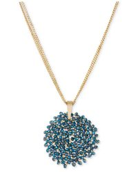 Kenneth Cole - Blue Necklace, Gold-tone Woven Faceted Bead Pendant Necklace - Lyst