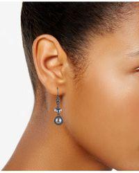 Carolee - Hematite-tone Crystal & Gray Imitation Pearl Drop Earrings - Lyst
