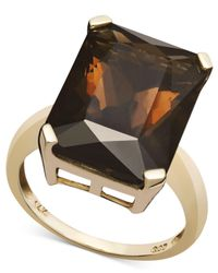 Macy's - Metallic 14k Gold Ring, Smokey Quartz (9-1/2 Ct. T.w.) - Lyst