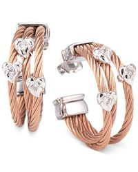 Charriol - Pink Women's Malia White Topaz-accent Two-tone Pvd Stainless Steel Cable Hoop Earrings - Lyst