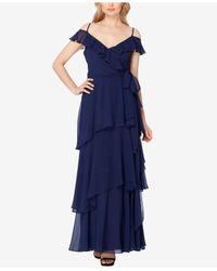 Tahari Blue Ruffled A-line Gown