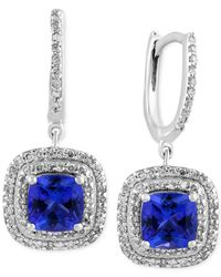 Effy Collection - Multicolor Effy® Final Call Tanzanite (1-9/10 Ct. T.w.) And Diamond (1/2 Ct. T.w.) Drop Earrings In 14k White Gold - Lyst