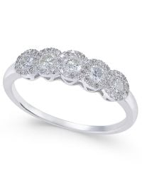 Macy's - Metallic Diamond Five-stone Halo Ring (1/2 Ct. T.w.) In 14k White Gold - Lyst