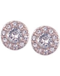 Givenchy - Pink Rose Gold-tone Small Pavé Stud Earrings - Lyst