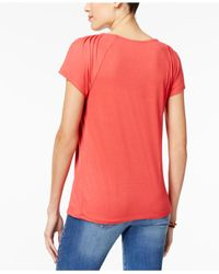 Style & Co. - Red Pleated-neck Top, Only At Macy's - Lyst
