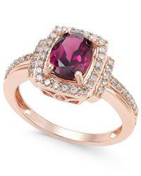 Macy's - Metallic Rhodolite Garnet (1-1/5 Ct. T.w.) And Diamond (1/3 Ct. T.w.) Ring In 14k Rose Gold - Lyst