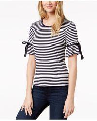 Maison Jules - Blue Striped Bell-sleeve Top, Created For Macy's - Lyst