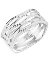 Robert Lee Morris - Metallic Silver-tone Sculptural Cut-out Hinge Bangle Bracelet - Lyst