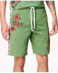 "Reason - Green Embroidered 10"" Shorts for Men - Lyst"