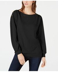 1.STATE - Black Cozy Metallic-trim Sweatshirt - Lyst